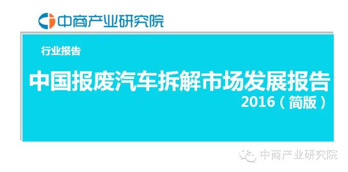 2016年中国报废汽车拆解市场发展报告高清图片